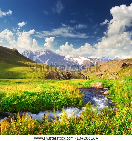 River in the mountain valley in the summer time. Beautiful landscape - stock photo