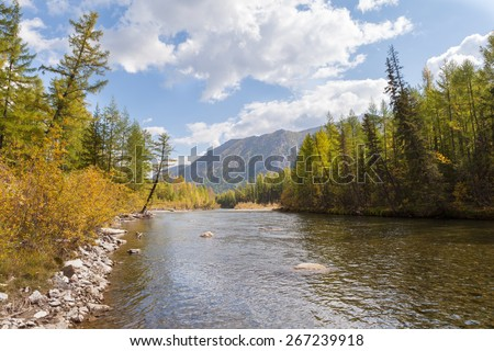 River in the mountains of Eastern Sayan. The Landscape. - stock photo