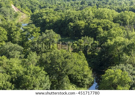 River In The Trees - stock photo