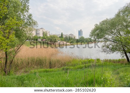 River in the ukrainian city of Kharkiv