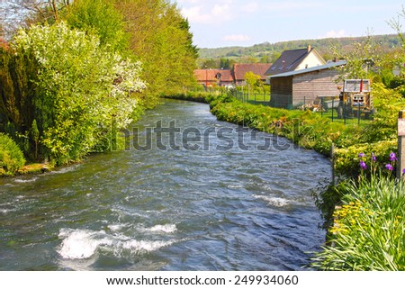 River in Torcy-le-Grand, typical Normandy village, France - stock photo