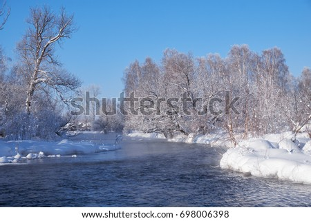 River Koksha surrounded by trees under hoarfrost and snow in Altai region in winter season, Siberia, Russia