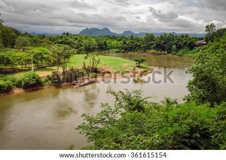 River Kwai and landscape Thailand - stock photo