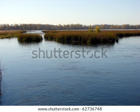 river lake with autumn colors