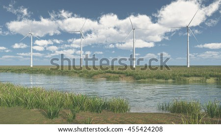 River landscape and wind turbines Computer generated 3D illustration - stock photo