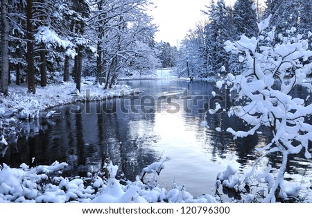 River landscape in winter - stock photo
