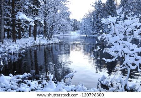 River landscape in winter - stock photo