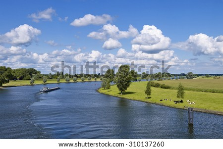 River landscape near the historical towns of Heusden and Aalburg, province Noord-Brabant, the Netherlands  - stock photo
