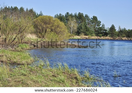 "River landscape. Spring in the national Park ""Meshera"", Ryazan region, Russian Federation."