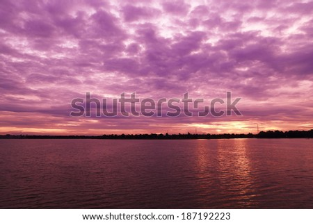 river landscape with sky in evening (cloudy day)