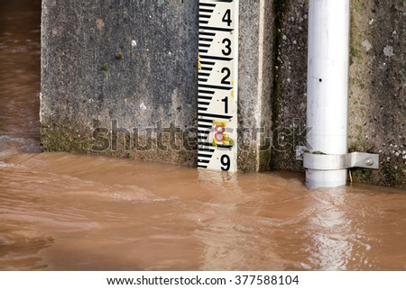 River Level Marker Gauge For Measurement. Flooding Risk - stock photo