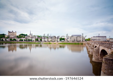 River Loire in the town of Saumur, Loire Valley, France - stock photo
