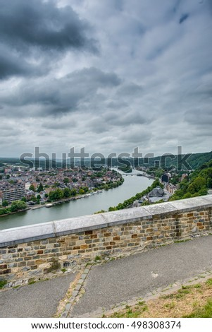 River Meuse as it passes through the city of Namur in the Wallonia Region, southern Belgium