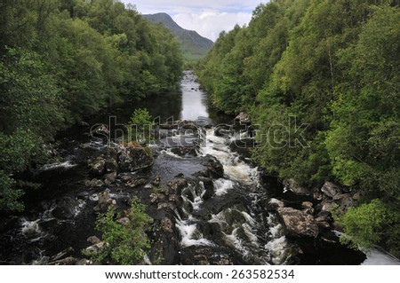 River Moriston at Bun Loyne Bridge, Highland Scotland - stock photo
