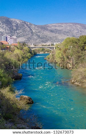 River Neretva in Mostar, Bosnia and Herzegovina