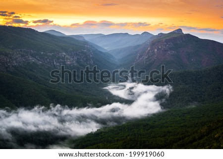 River of fog along the Linville River in the gorge. Taken around sunrise from atop Shortoff Mountain.  - stock photo