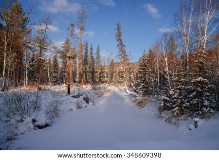 River Olkha winter - stock photo