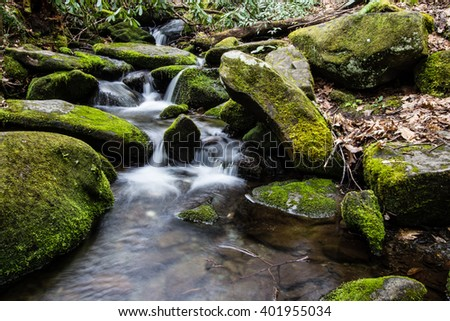 River On The Roaring Fork Nature Trail. River on the Roaring Fork Motor Nature Trail in the Great Smoky Mountains National Park. Gatlinburg, Tennessee. - stock photo