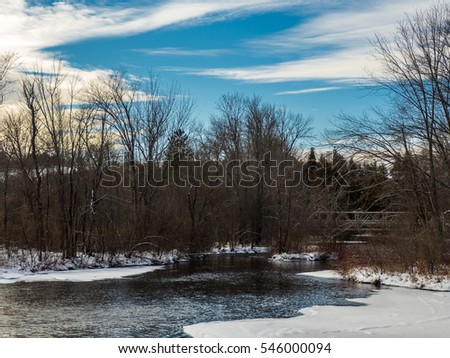 River Open Water In Winter