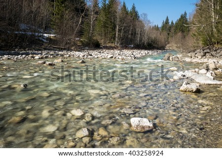 river Ostrach in the Allgaeu Alps in Germany in the valley Hinterstein - stock photo