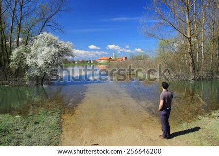 River Sava overflows in early spring - stock photo