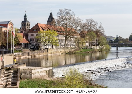 river scene historic city hameln germany