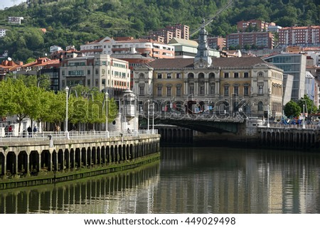 River Scene in Bilbao Spain