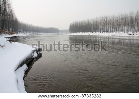 river scenery after snow north china - stock photo