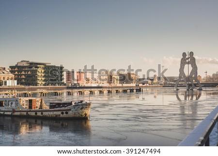 River scenery in Berlin Europe - stock photo