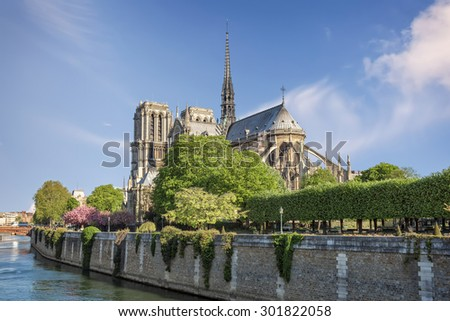 River Seine and cathedral Notre Dame de Paris on island Cite in Paris, France. - stock photo