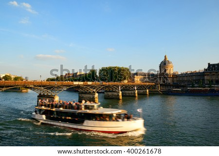 River Seine and historical architecture in Paris, France. - stock photo