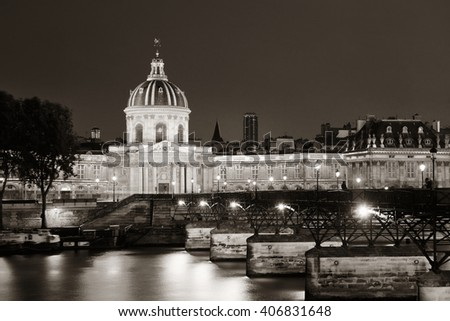 River Seine with Pont des Arts and Institut de France at night in Paris, France. - stock photo