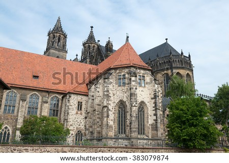 River side of Magdeburg Cathedral (Protestant Cathedral of Magdeburg Mauritius and St. Catherine) - one of the oldest Gothic buildings in Germany.  - stock photo