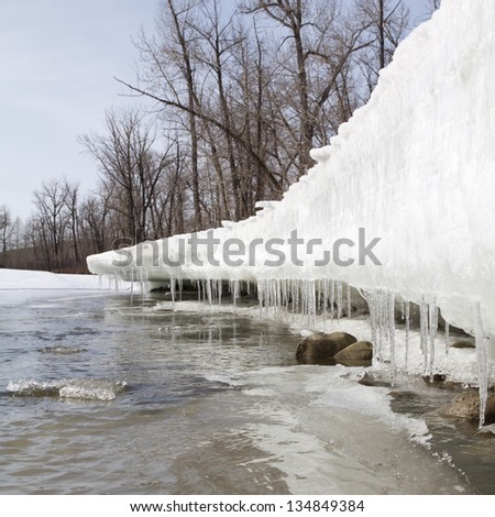 River side  snowbank melting in the spring time thaw, forming icicles. - stock photo