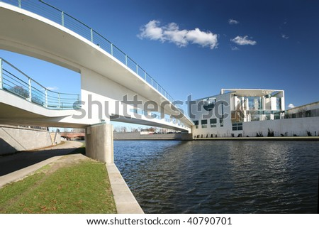 River Spree and bridge in front of the german Chancellery (Bundeskanzleramt) in Berlin