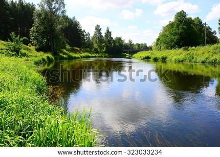 River Sventoji in Andrioniskis town Anyksciai district. Lithuania. - stock photo