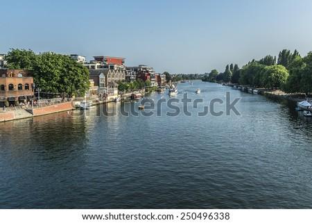River Thames at Hampton Court, Richmond-Upon-Thames, London, England. - stock photo