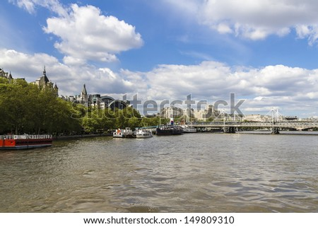 River Thames at Hungerford Bridge (or Charing Cross Bridge), London