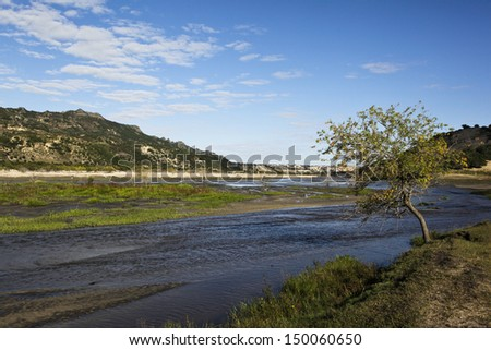 river through the grassland in the northeast of china - stock photo