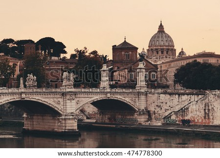 River Tiber and St Peters Basilica in Vatican City at sunset