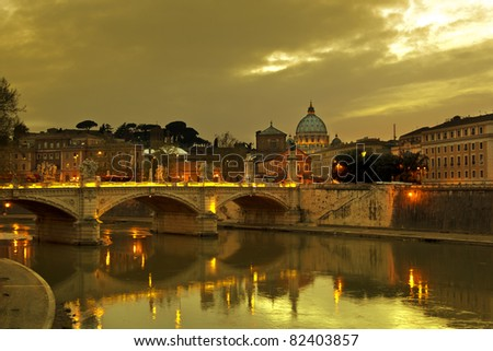 River Tiber  at sunset, Rome, Italy.