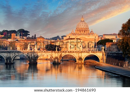 River Tiber, Ponte Sant Angelo and St. Peter's Basilica - stock photo