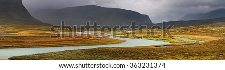 River valley in  Alpine tundra of Sarek national Park in Sweden.  - stock photo