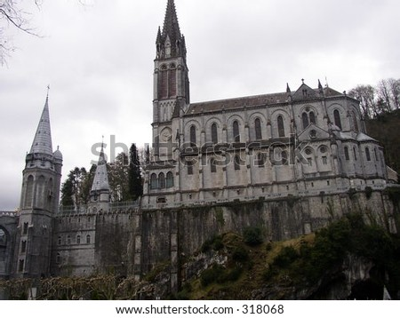 River View of Lourdes Cathedral - stock photo