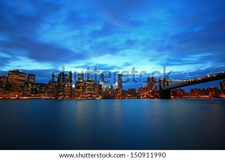 river view of Manhattan, New York - stock photo