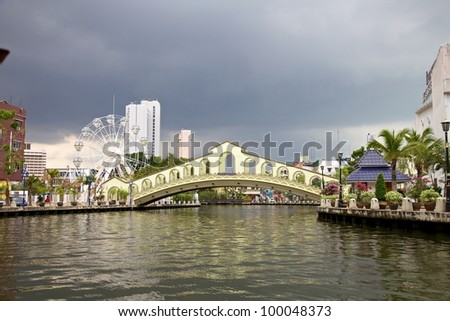 River view of the Old Bus Station Bridge, Malacca Malaysia