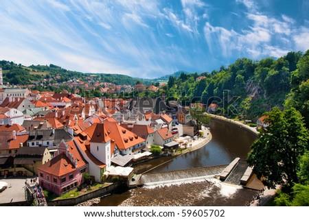 River Vltava in Cesky Krumlov - stock photo