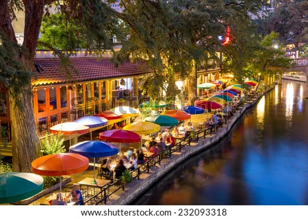 River Walk in San Antonio, Texas - stock photo