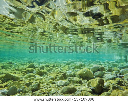 River with crystal clear water - stock photo