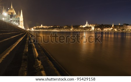 Riverbank of Danube in the middle of Budapest, at night. - stock photo